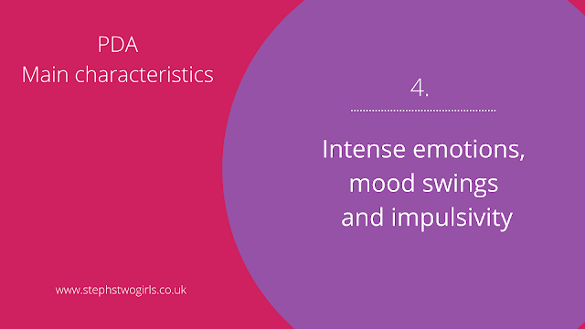 Pink and purple slide presentation with text 4. Intense emotions, mood swings and impulsivity