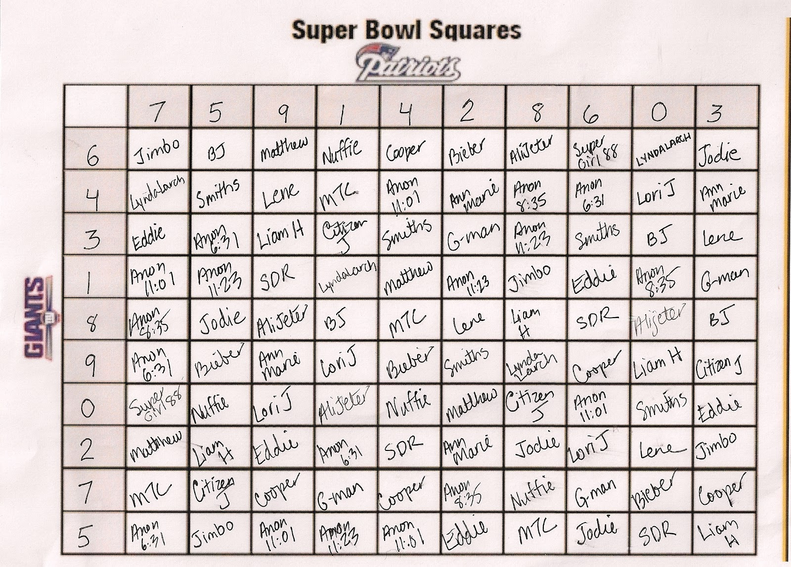 Super Bowl Squares Game Grid | Super Bowl Squares 2016