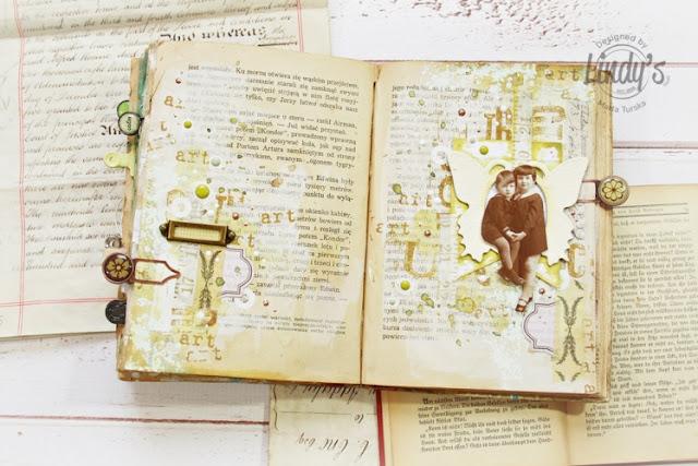 Stamped art journal spread