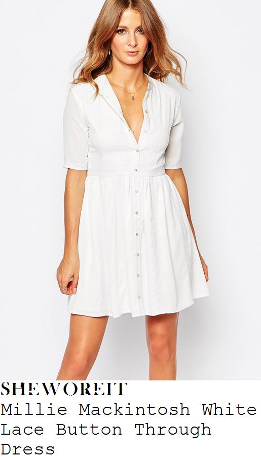 millie-mackintosh-white-button-up-half-sleeve-dress-instagram