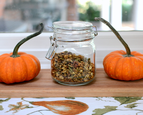 Pumpkin Granola, healthy homemade granola ♥ A Veggie Venture, just oats, pumpkin seeds and nuts, lightly sweetened with maple syrup and brown sugar, gently spiced with our favorite fall spices. Vegan. Gluten Free.