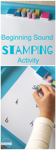 Beginning sounds stamping activity - this is such a fun way for kids to practice identifying  beginning letters, sounds, writing words to make learning fun in this NO PREP educational activity for preschool, prek, kindergarten, first grade.