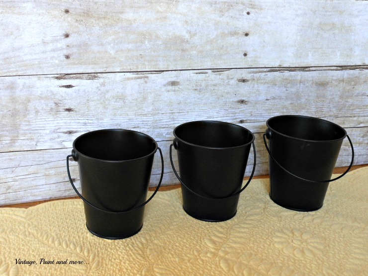 Vintage, Paint and more... black buckets from dollar store