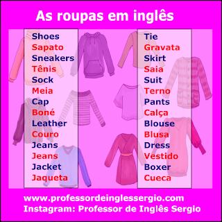 Vocabulário: As roupas em inglês e português
