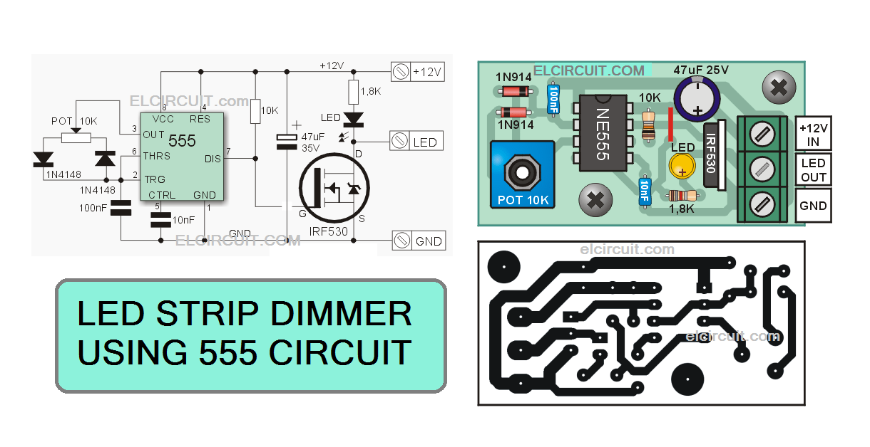 led strips dimmer 555 circuit electronic circuit circuit diagram dimmer high power led strips