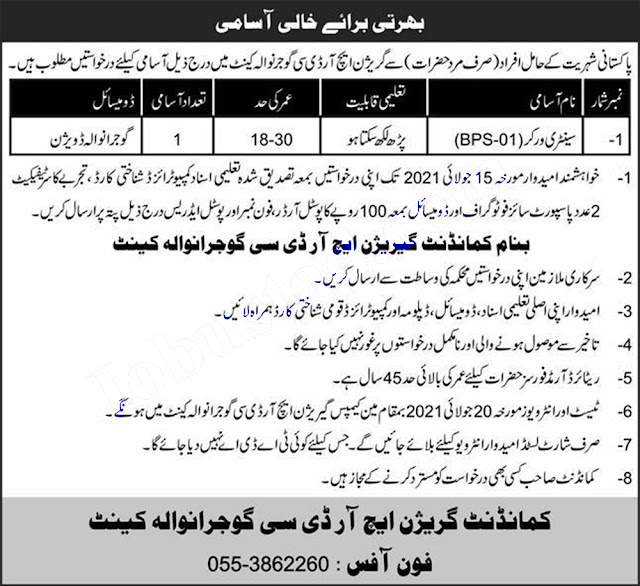 HRDC Gujranwala Pak Army Garrison Jobs 2021