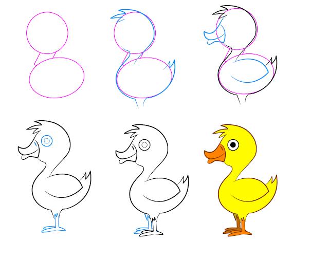 رسم بطة ملونة للاطفال الصغار