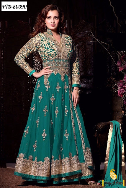 Actress heroine Dia Mirza green color santoon designer wedding wear bollywood anarkali salwar suit 2016 online shopping