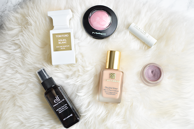 summer beauty must haves living proof frizz humidity shield elf setting spray neutrogena sunscreen tom ford soleil blanc sugar chapstick mac paint pot in stormy pink mac blush estee lauder double wear