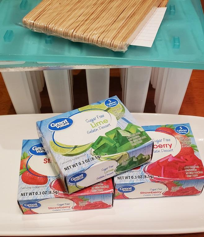 ingredients to make jello popsicles