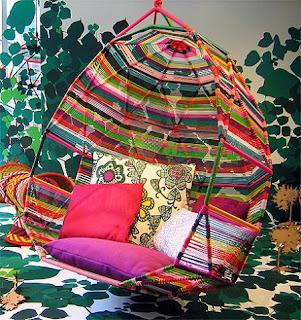 Diseño de sillón único muy colorido