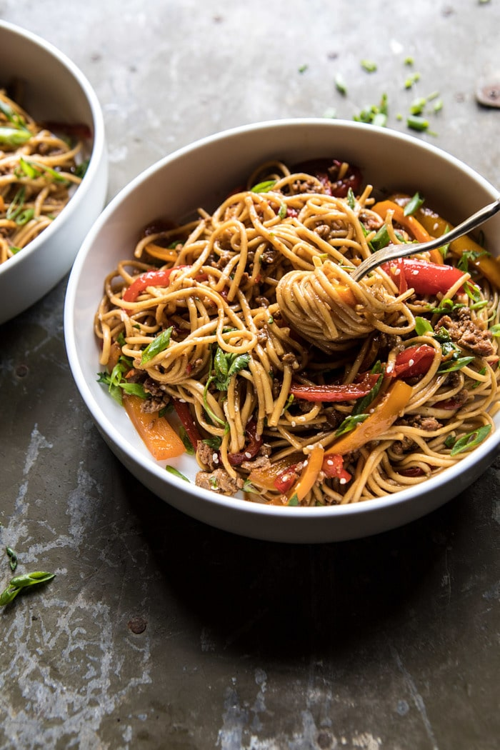 Weeknight 20 minute spicy udon noodles #weeknight #noodles #chickennoodles
