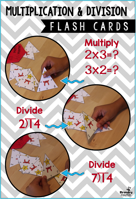 There are many benefits to using the triangle flash cards:  • They reinforce the concept of related facts. • They reinforce the commutative property. (2x3=6 and 3x2=6) • They enhance understanding of multiplication and division being inverse operations. • They make learning division facts MUCH easier and faster. • Multiplication and Division Triangle may be used for: ♥ Individual Use ♥ Small Group ♥ Entire Class ♥ Homework