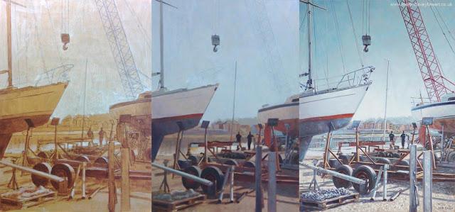 marine landscape dry dock Hampshire painting