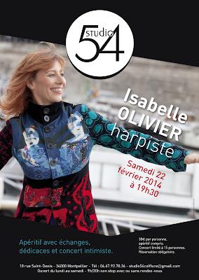 Affiche du concert d'Isabelle Olivier au Studio 54 à Montpellier.