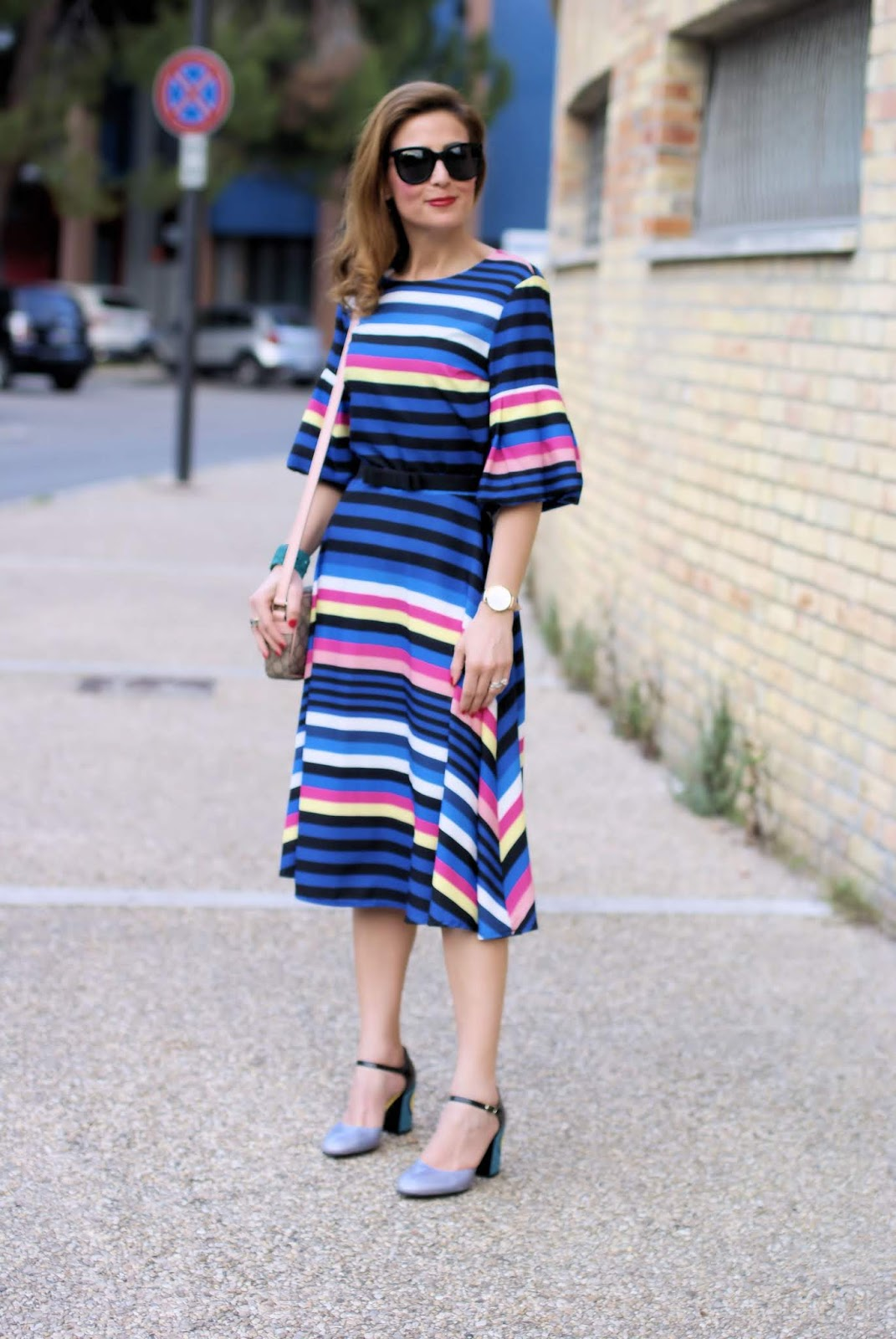 Striped midi dress and Giovanni Fabiani Mary Jane on Fashion and Cookies fashion blog, fashion blogger style