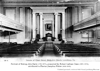 Undated postcard, 'Interior of Court Street United Methodist Church,' showing portrait of Bishop John Early (1786-1873), presented by Robert Latham Owen (1825–1873) and attributed to Flavius Josephus Fisher (1832-1905). Retrieved 2021 from Lynchburg Museum.