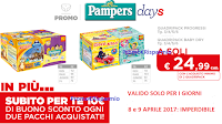 Logo Pampers : 2 quadripack a soli 24,99 € + buono sconto da 10 euro !