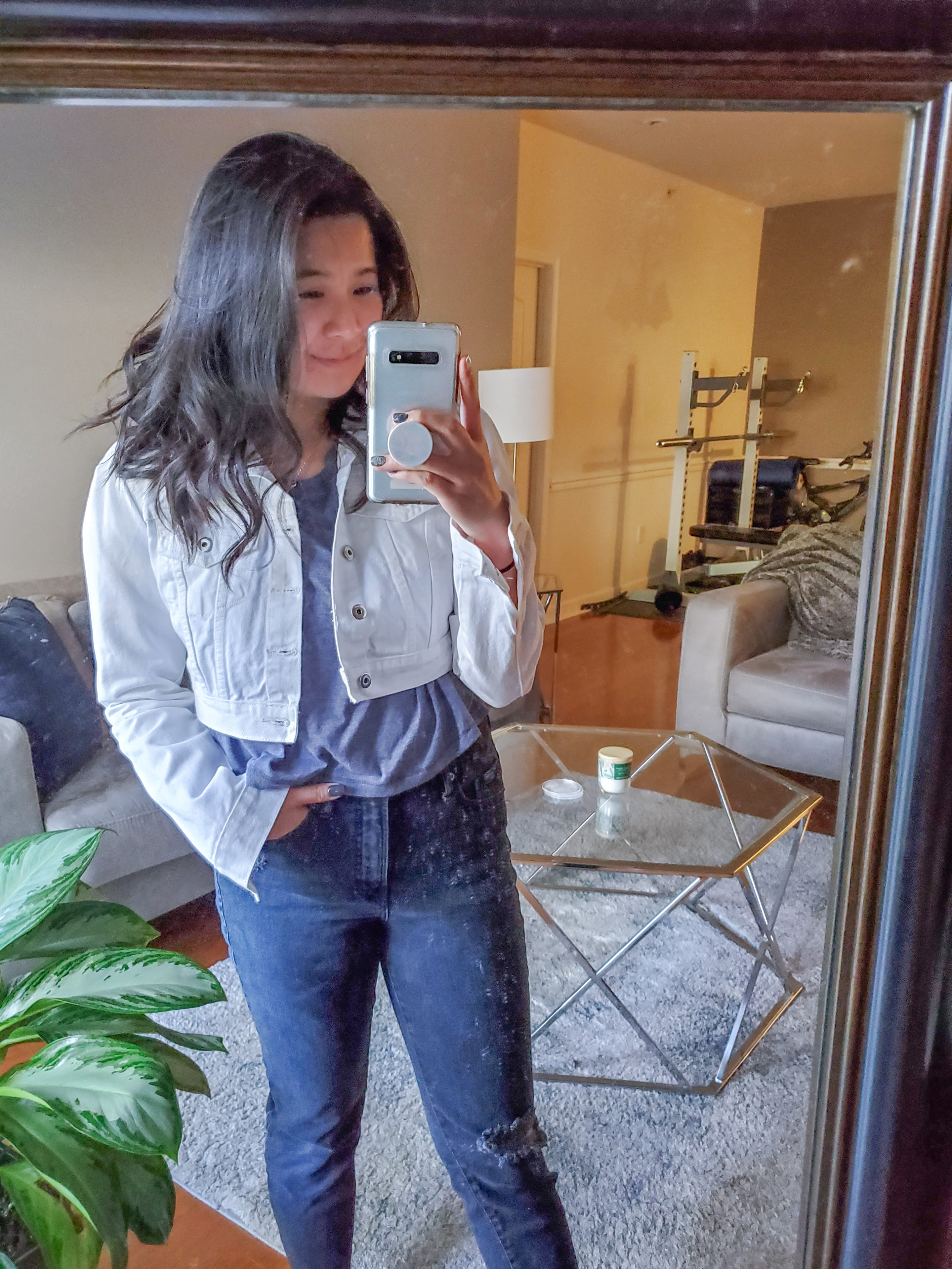 White Cropped Denim Jacket - Femme Luxe