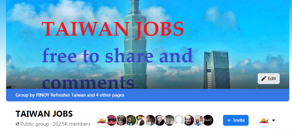 Join now in our Taiwan Jobs Facebook Group!!!