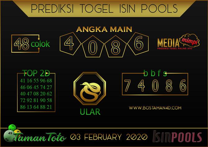 Prediksi Togel ISIN TAMAN TOTO 03 FEBRUARY 2020