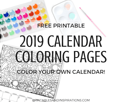 2019 calendar coloring pages