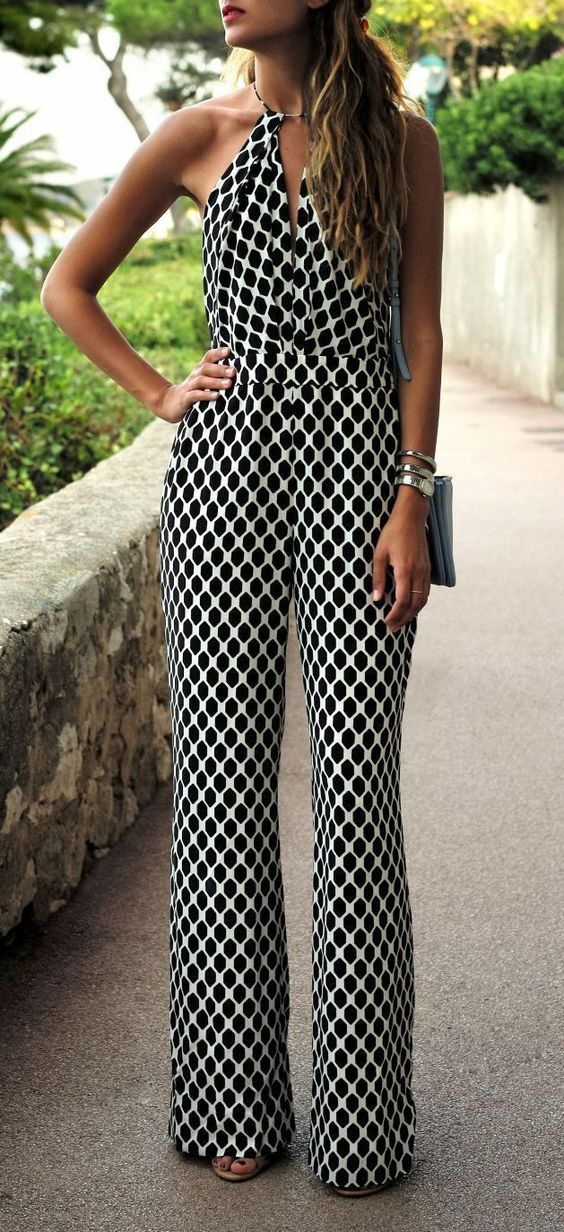 black and white outfit: beautiful jumpsuit