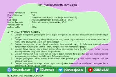RPP Kelas 2 Tema 8 K13 Revisi 2020 Format 1 Lembar