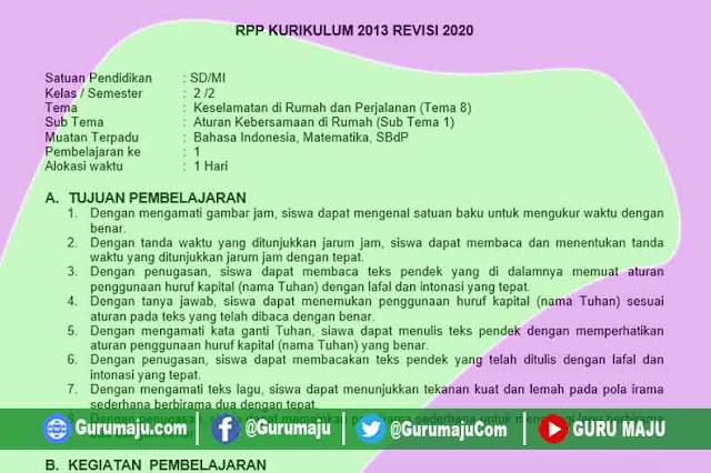 RPP 1 Lembar Kelas 2 Semester Tema 8 Revisi 2020