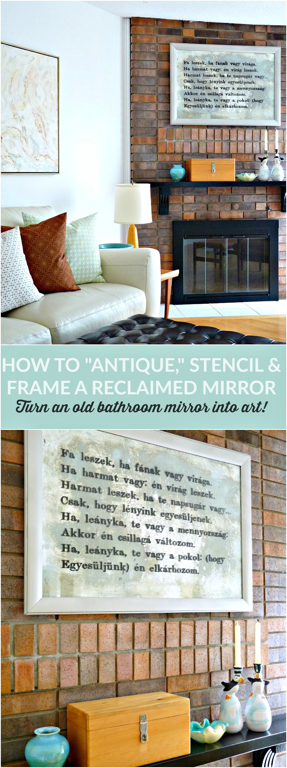 How to Antique, Stencil and Frame an Old Bathroom Mirror to Turn it into Art