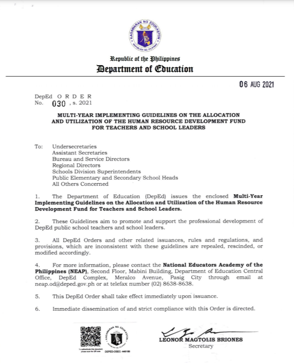 MULTI-YEAR IMPLEMENTING GUIDELINES ON THE ALLOCATION AND UTILIZATION OF THE HUMAN RESOURCE DEVELOPMENT FUND FOR TEACHERS AND SCHOOL LEADERS