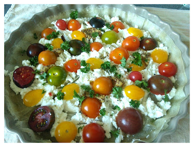détail de la tarte feuille de brick et tomates