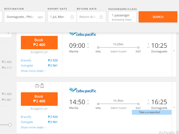 Manila to Dmgte(06/1/19) for just PHP2,400