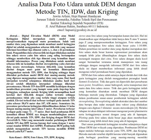 Analisa Data Foto Udara untuk DEM dengan Metode TIN, IDW, dan Kriging [PAPER]