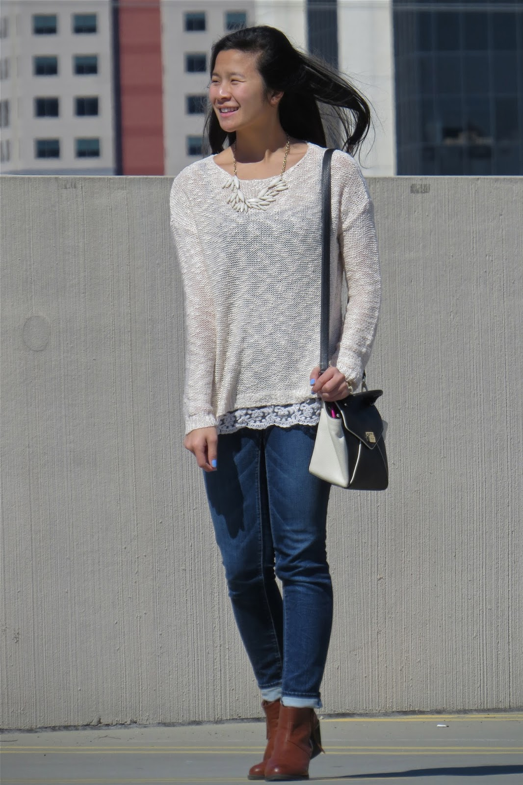 sweater and booties outfit