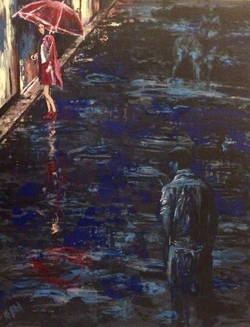 Karine Babel a peint un conte urbain en reprenant l'histoire du petit chaperon rouge
