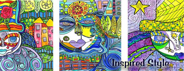 mixed media art inspired by hundertwasser.