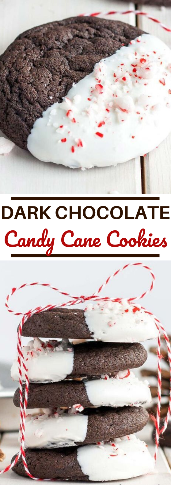 Dark Chocolate Candy Cane Cookies #cookies #desserts #holiday #christmas #baking