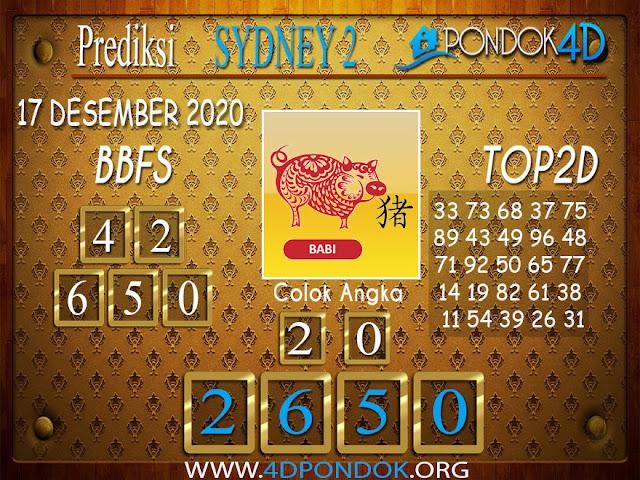 Prediksi Togel SYDNEY2 PONDOK4D 17 DESEMBER 2020