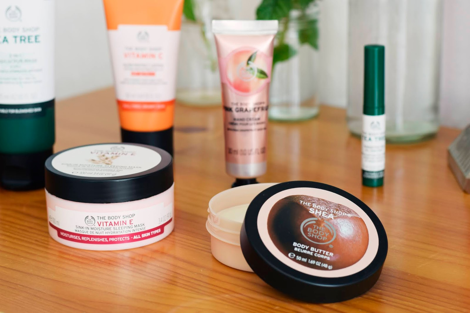 Photograph of the skincare products in the Body Shop haul