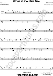 Violonchelo y Fagot Partitura de Gloria in excelsis deo Villancico Sheet Music for Cello and Bassoon Music Scores