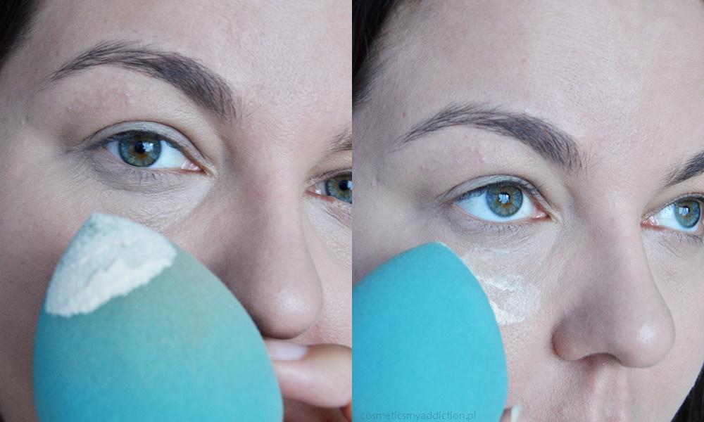 Nakładanie pudru za pomocą gąbeczki pod oczy - metoda baking