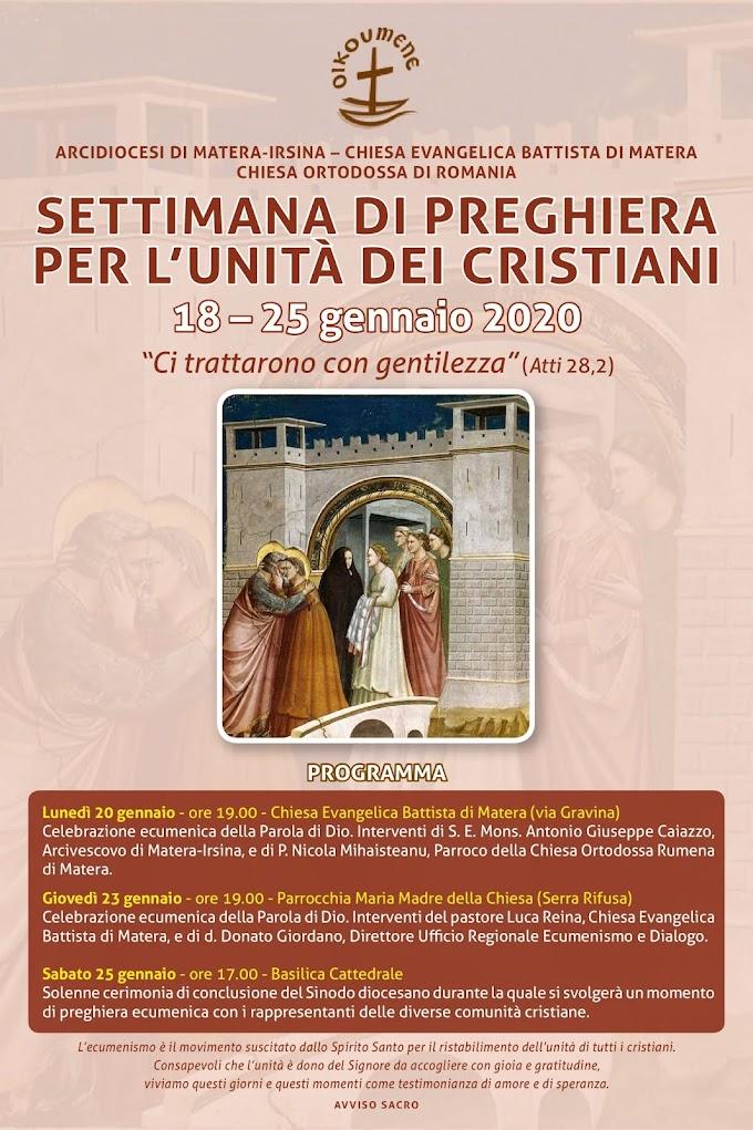 Settimana di preghiera per l'unità dei cristiani 18-25 gennaio 2020
