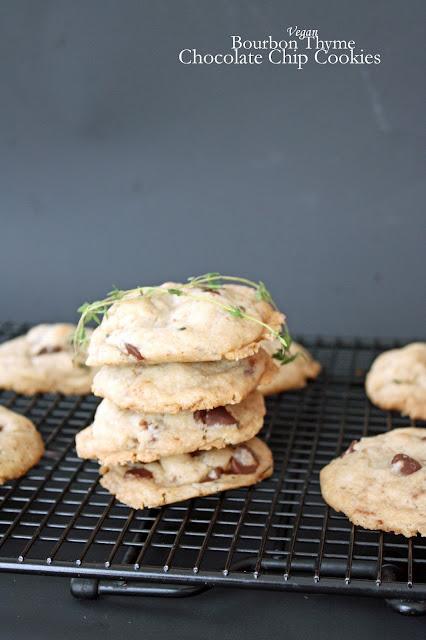 vegan bourbon thyme chocolate chip cookies