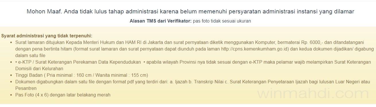 Contoh Tidak Lulus Berkas Administrasi CPNS