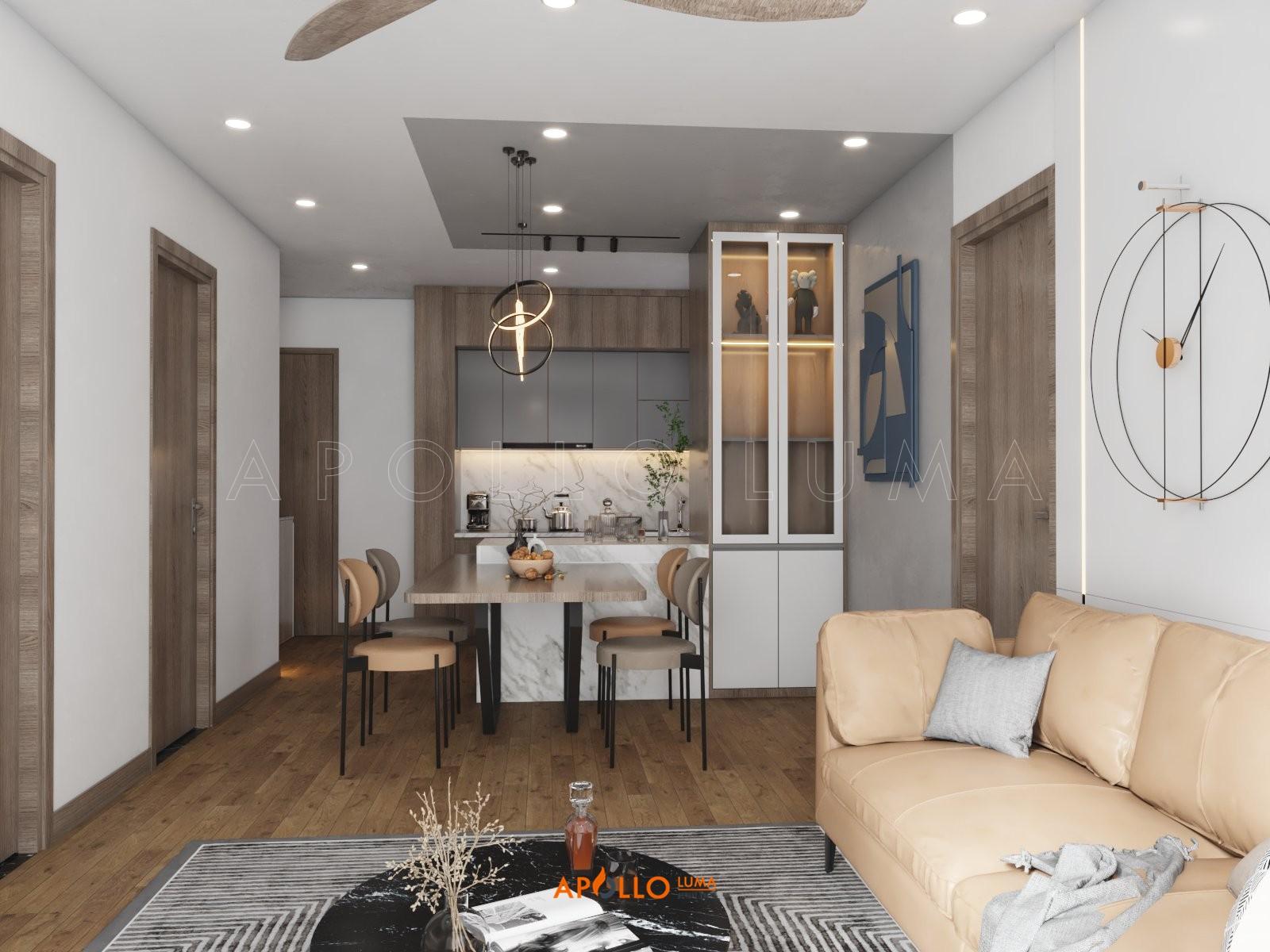 Thiết kế nội thất căn hộ 2 phòng ngủ + 1 Berriver Jadin Long Biên