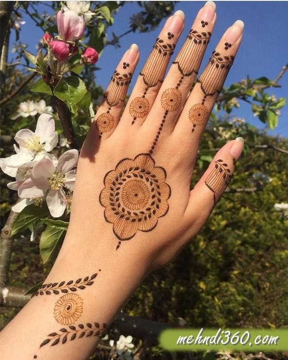 Flowers Mehndi Design Back Hand
