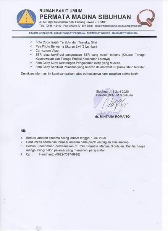 Lowongan Kerja Terbaru Juni 2020 di RSU Permata Madina Sibuhuan Padang Lawas