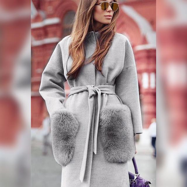 Γυναικείο γκρι παλτό TAMERA GREY