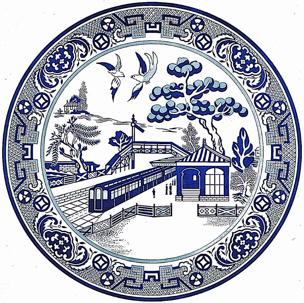 a blue plate from a 1913 British public transit poster